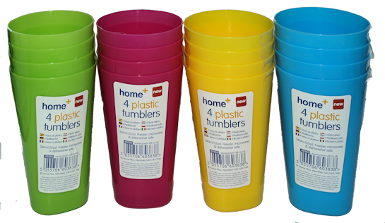 4pk Coloured Plastic Tumblers (4)