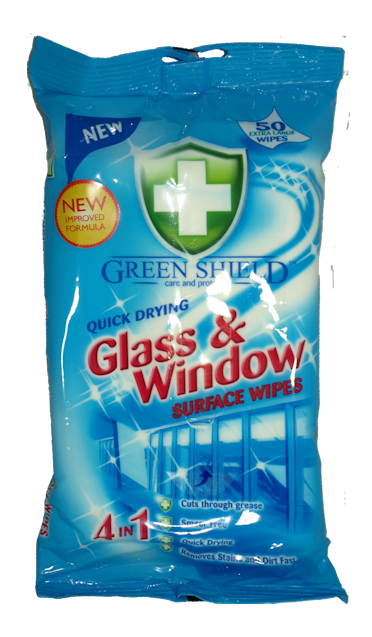 Greenshield Large Glass and Window Wipes x 50
